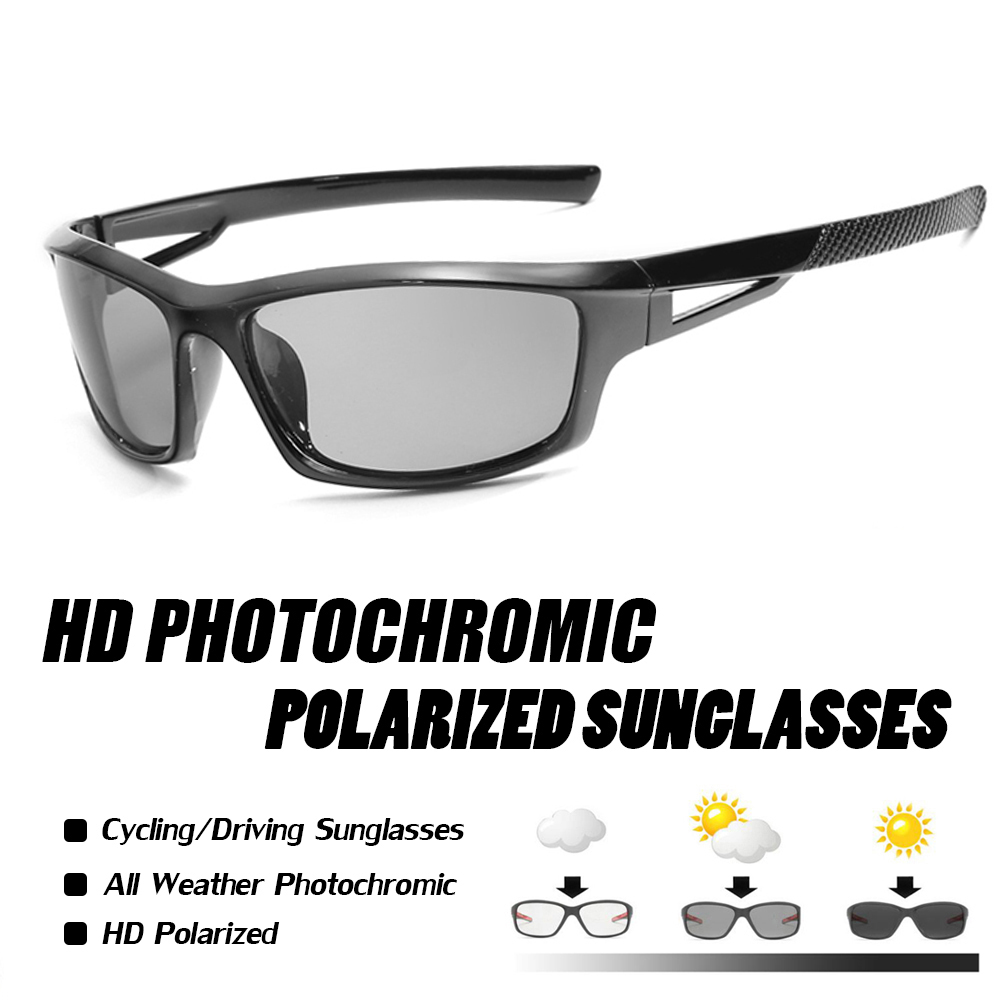 Photochromic Cycling Glasses Polarized Bicycle Eyewear Ultralight Sport Bike Sunglasses Black Men&women Riding Goggles