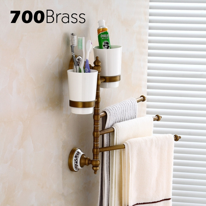 Brass 3 Bars Antique Rotation Towel Bars With Cup Holder Wall Mounted Towel Bars Flexible Bathroom Accessories bars шорты