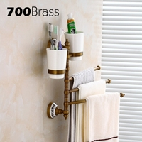 Brass 3 Bars Antique Rotation Towel Bars With Cup Holder Wall Mounted Towel Bars Flexible Bathroom Accessories