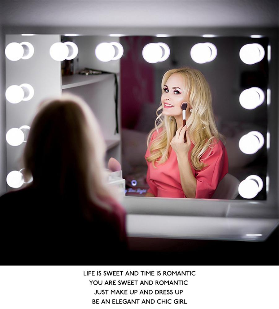 LED Bulb Vanity Makeup Mirror RGB  Pink/Cold Light LED Vanity Mirror Lamp Kit Lens Headlight Hollywood Style Dresser Lamp(China)