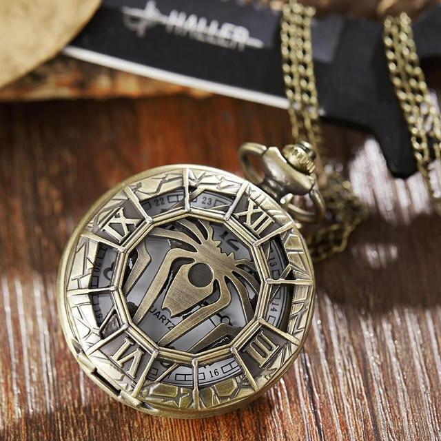 Spiderman Spider Pocket Watch Chains Hollow Bronze Quartz Pocket Watch Steampunk Necklace Pendant For Men Gifts Relogio De Bolso