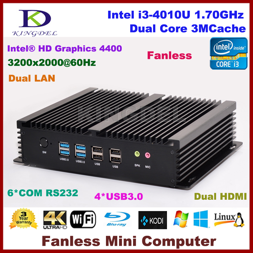 Fanless Htpc Intel Core I3 4010U, 2 HDMI 2 Gigabit LAN 6 COM Rs232,WiFi 8G RAM+1T HDD Micro Computer NC310