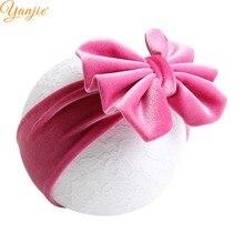 Бархатная повязка на голову с бантиком для девочек, 5 дюймов, весна, тюрбан, повязка на голову для детей, лента для волос с бантом, аксессуары для волос
