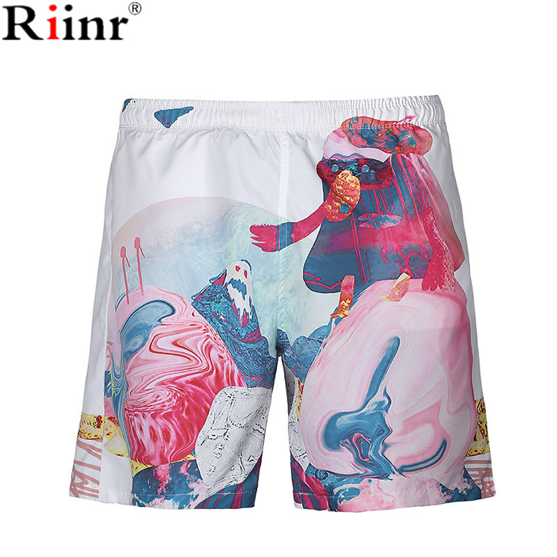 Riinr 2018 Brand Casual New Arrival Beach Men's   Shorts   Summer Vacation Creative Abstract 3D Printing Polyester   Board     Shorts   Men
