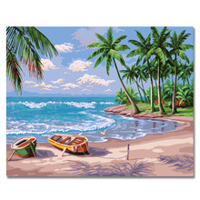 Beach Scenery Coconut Tree Oil Painting Coloring By Numbers Digital Painting By Numbers On Canvas Unique Christmas Gift Cheap  0329zc066 home wall furniture decorations diy number oil painting children graffiti sandy beach coconut tree painting by numbers
