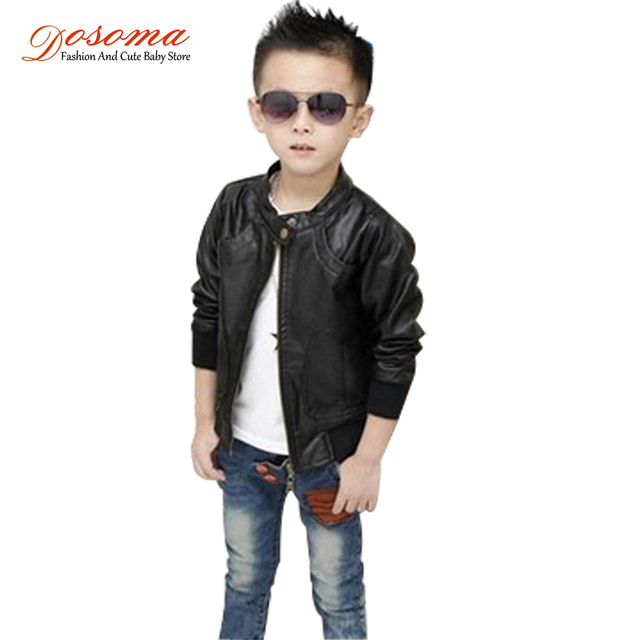 2017 New Brand Boys Pu Leather Motorcycle Jacket Autumn Winter Kids
