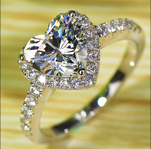 Size 5-10 2CT jewelry 925 silver Filled AAA Cubic Zirconia Gem Women Wedding Lovers Band Ring gift choucong