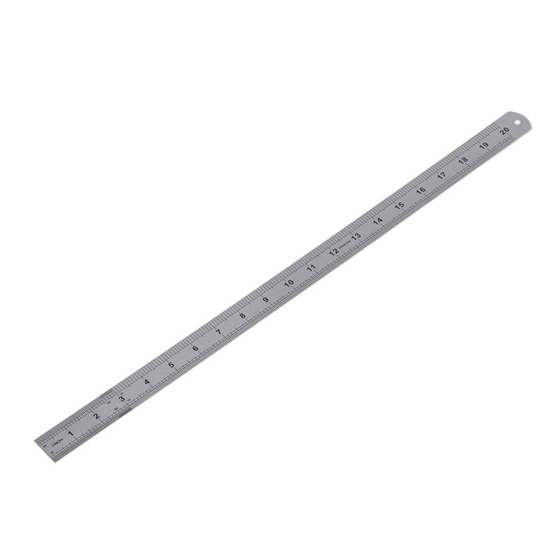 Double Side Scale Stainless Steel Straight Ruler Measuring Tool 50cm