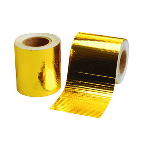 """200/"""" 1200°f Continuous Roll Self-Adhesive Gold Reflective Heat Shield Wrap Tape"""