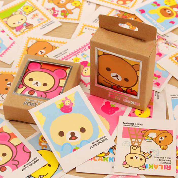 40 Pcs/pack Cassette Lomo Mini Lovely bear Cards  Cartoon DIY Cards  Blank Postcard Greeting Card for Friends