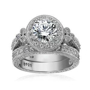 Image 2 - Newshe Conjuntos de anillos de boda de corte redondo AAA CZ para mujer, de plata de ley 1,2, banda de compromiso, joyería clásica para mujer JR4968