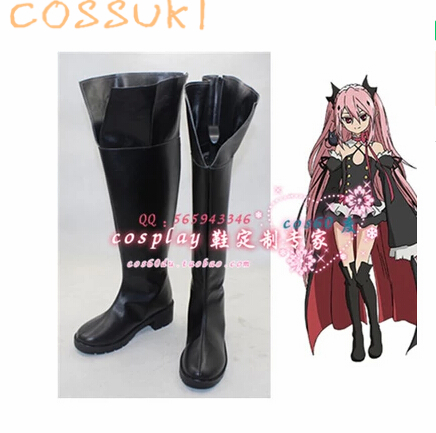 Free Shipping! Newest! Seraph Of The End Krul Tepes Cosplay Shoes Boots Professional Handmade!Perfect Custom For you! hot sell free shipping seraph of the end krul tepes pink long clip ponytail cosplay party wig hair
