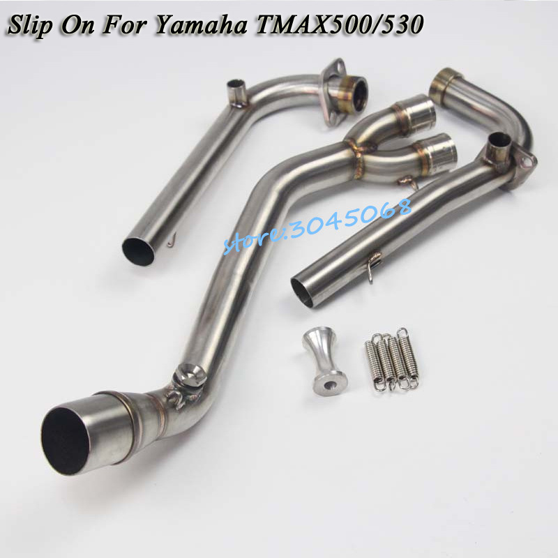 Slip On For TMAX 500/530 Motorcycle Exhaust Muffler Connector Front Mid Link Pipe For Yamaha T-MAX500 TMAX-530 TMAX500 TMAX530 cnc aluminum motorcycle brake fluid fuel reservoir tank cap cover for yamaha tmax 530 500 t max 530 500 tmax530 tmax500