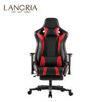 LANGRIA Executive High Back из искусственной кожи компьютерные игры стул с подставкой для ног Регулируемый Поясничный и затылочный шейный подушки офис