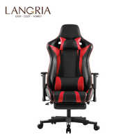 LANGRIA Executive High-Back PU Leather Computer Gaming Chair with Footrest Adjustable Lumbar and Cervical Neck Cushions Office