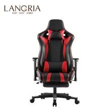 LANGRIA Executive wysokiej tylna obudowa z pu skórzane gry komputerowe krzesło z podnóżkiem regulowane poduszki lędźwiowe i szyjki macicy