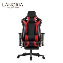 LANGRIA التنفيذي عالية الظهر بولي Leather الجلود الكمبيوتر الألعاب كرسي بمسند للقدم قابل للتعديل قطني وعنق الرحم وسائد مكتب
