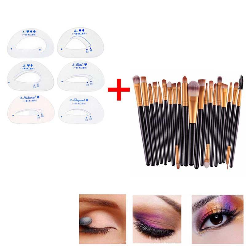 6pcs Eyebrow Stencils Eyeshadow Models Card Auxiliary Tools + 20PCS Make Up Brushes Mascara Lip Makeup Brush Set HS11 трафареты kiss go brow eyebrow stencils sexy look
