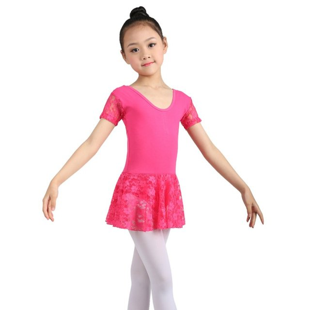 7256704df Kids Child Dance Dress Gymnastics Leotard Lace Half Sleeve Ballet ...
