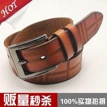 Мода все матч мужской неподдельный кожаный пояс случайный пряжкой ремня мужской ремень для мужчин