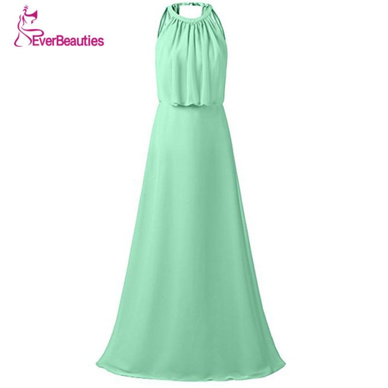 Vestido Madrinha Mint Green   Bridesmaid     Dresses   Long 2019 Chiffon Pleat Floor-Length Halter Style Robe Demoiselle D'Honneur