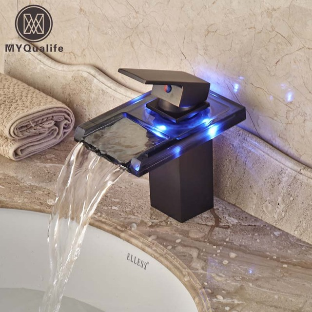 Free Shipping Led Light Gl Bathroom Vessel Sink Faucet One Hole Lavatory Mixer Taps