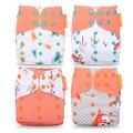 Happyflute wholesale price for 4pcs/set Washable Cloth Diaper Cover Adjustable Nappy Reusable Cloth Diapers