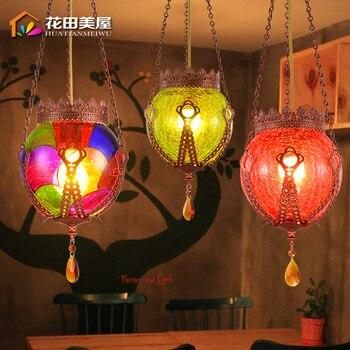 Lámpara Colorida De Cristal Para Techo De Turquía, Sudeste Asiático, Bohemia, Lámpara Colgante De Cristal Para Cafetería, Bar, Comedor, Tienda, Lámpara De Decoración