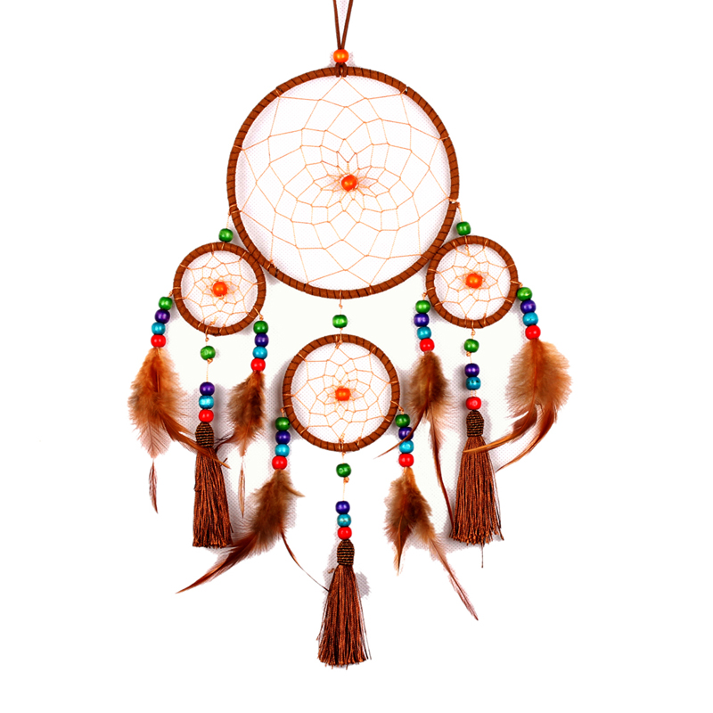 Handmade Dream Catcher Indian Pendant Home Hanging Decoration Ornament Circular Net With Feather Brown