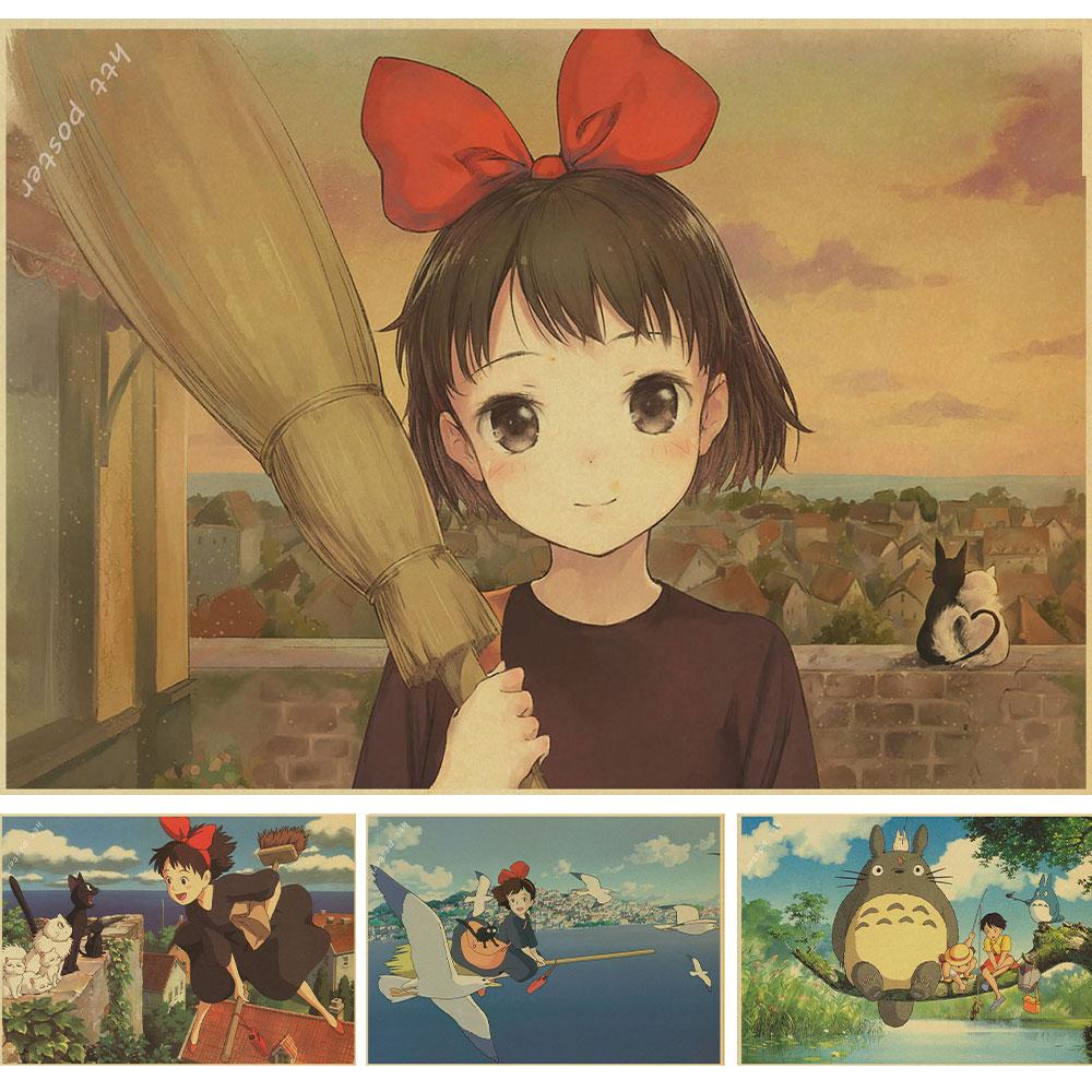 Vendimia de Dibujos Animados Anime Hayao Miyazaki Totoro Chihiro Cafe Poster Kid