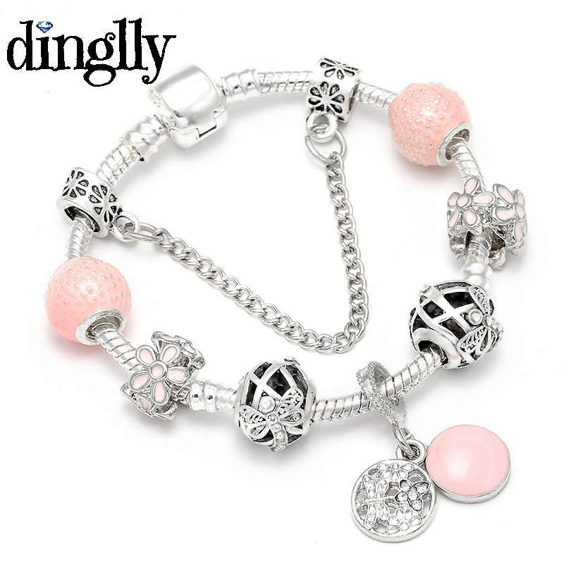 DINGLLYF 16CM-21CM Pink Daisy Silver Brands Bracelet For Women Lovers Men DIY Love Charm Beads Bracelets & Bangles Jewelry Gift