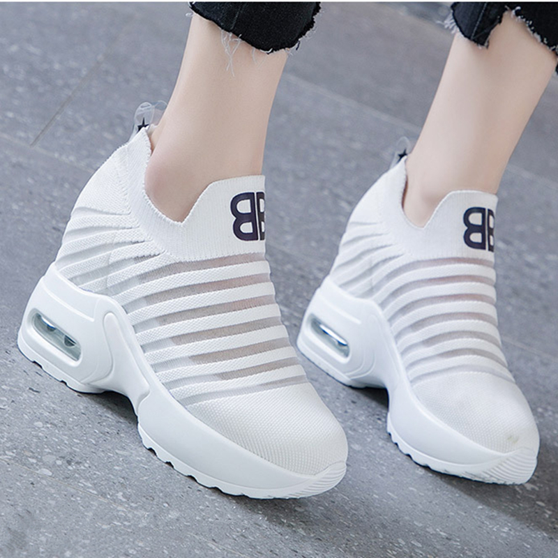 Flying Knitting Wedges Fashion Sneakers Women Height Increasing Slip On Summer Casual Shoes Breathable Platform Sneakers XZ176