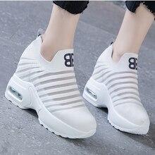 Flying Knitting Wedges Fashion Sneakers Women Height Increasing Slip On Summer