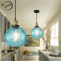 Loft modern blue color glass pendant light LED E27 vintage Nordic hanging lamp with 3 size for bedroom lobby restaurant office