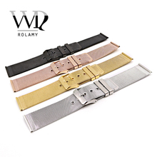 Rolamy 20 22mm Silver Black Rose Gold Stainless Steel Replacement Mesh Wrist Watch Band Strap Bracelet With Polished Buckle