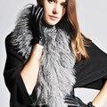 160 см женщины подлинная серый Тибет агнца меховой шарф меховой моды воротник друг подарок настоящее меховыми воротниками Монгольских овец scaves черный 80 см