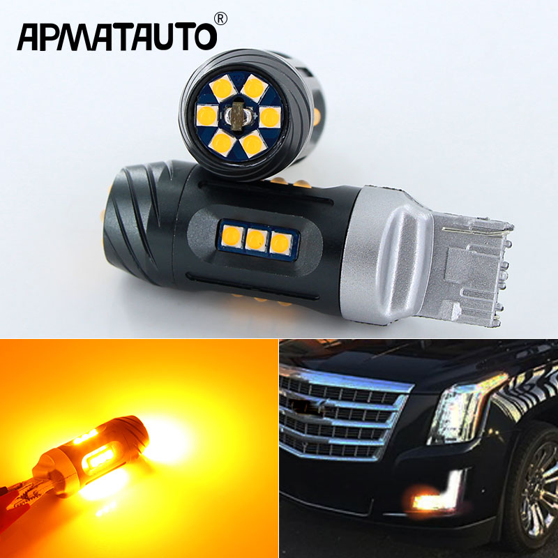 2x Canbus Error Free 7440 LED No Hyper Flash W21W T20 LED 24w 18SMD-3030 For 2015-up Cadillac Escalade Front Turn Signal Bulbs