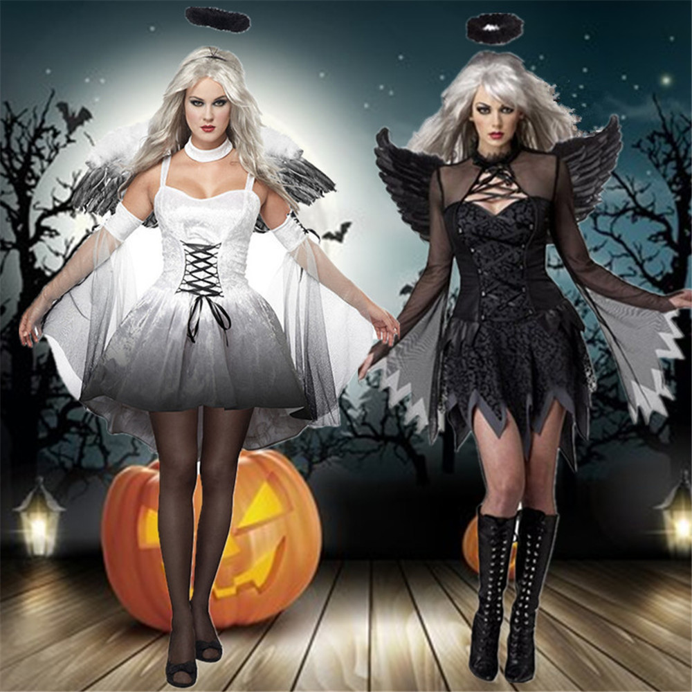 Halloween cosplay costume angel cosplay costume Devil costume witch costume with angel wings goddess dress women adult full set