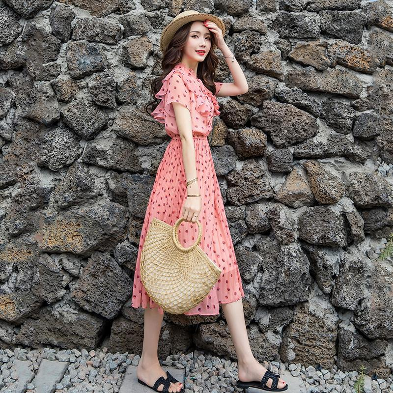 ฤดูร้อน 2019 ผู้หญิงชุดยาว Robe Femme ชีฟองผู้หญิงเครื่องแต่งกายแฟชั่นฤดูใบไม้ผลิ Dot ชุดสำหรับหญิงชุดชายหาด-ใน ชุดเดรส จาก เสื้อผ้าสตรี บน AliExpress - 11.11_สิบเอ็ด สิบเอ็ดวันคนโสด 1