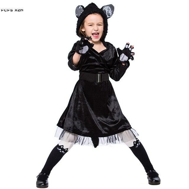 Kinderen Halloween.Us 22 71 29 Off Meisjes Kigurumi Winter Animal Pyjama Kid Zwarte Kat Cosplay Kinderen Halloween Beer Kostuum Carnaval Purim Party Stage Spelen Jurk