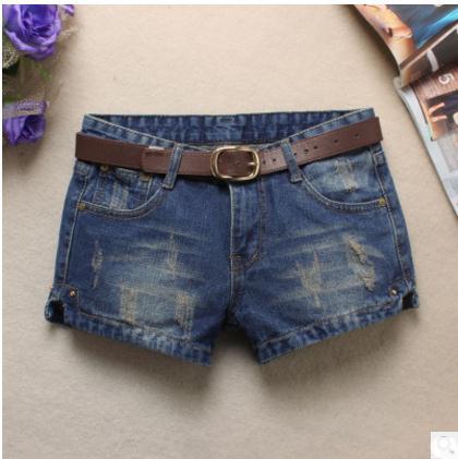 Elegant Women Hole Denim   Shorts   Korean Fashion Jean   Shorts   For Female Denim Split Summer Autumn Coaboy   Short   Without Belt J2429
