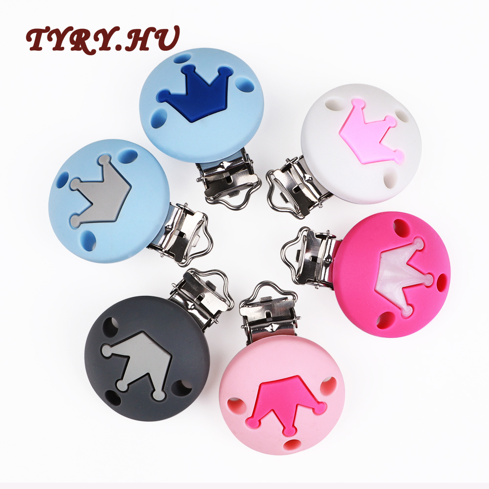 TYRY.HU 1pc Silicone Baby Crown Pacifier Chain Clip Holder DIY Cute Infant Soother Clip Adapters Attachments Silicone Clip Beads