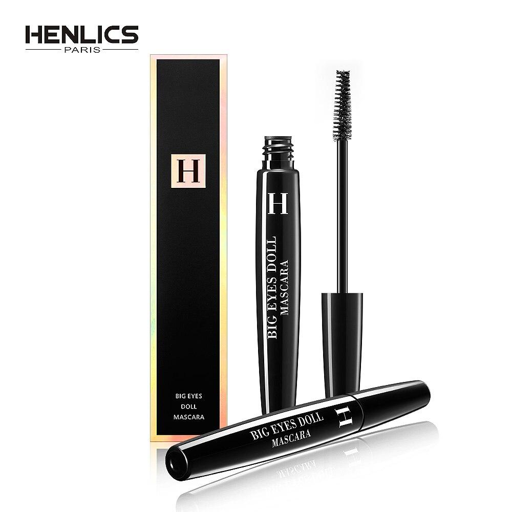 HENLICS 3D Fiber De Cils Mascara Noir Épais Imperméable Curling Colossal Yeux France Grands Yeux maquillage Waterproof Yeux Cosmétiques