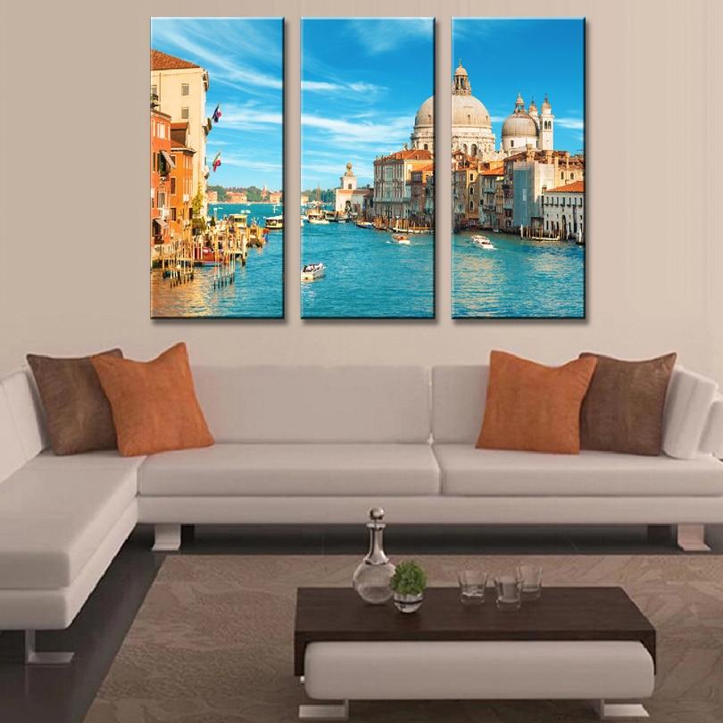 3 Teile/satz Gerahmte Landschaft der Stadt Venedig Leinwand Druck ...