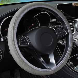 Image 2 - Yosoloアンチスリップpuマイクロファイバーユニバーサルステアリングホイールカバースリップ防止機能付きエンボスレザーユニバーサル車のステアリングホイールカバー