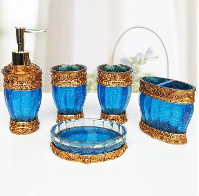 luxury new bath decor modern 5pcs resin europe bathroom accessory set