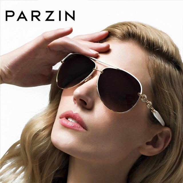 PARZIN 2018 Diamante de Luxo Polarizada óculos de Sol Das Mulheres Designer  de Marca Elegante Claro 46d91e58a3