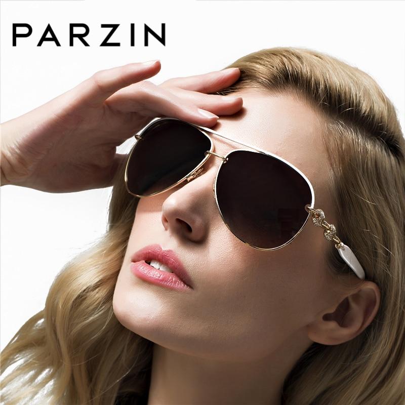 PARZIN Luxury Diamond Polarized Women Solglasögon Elegant Brand Designer Solglasögon för Driver Women Pilot Eyewear 9613