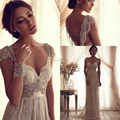 Real Photo Vintage Bohemian Wedding Dresses Empire Waist Sheer Backless Lace Bridal Gown Western Boho Beach Wedding Gowns 2017