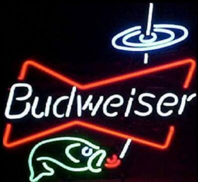Custom Budweiser Fishing Neon Light Sign Beer Bar